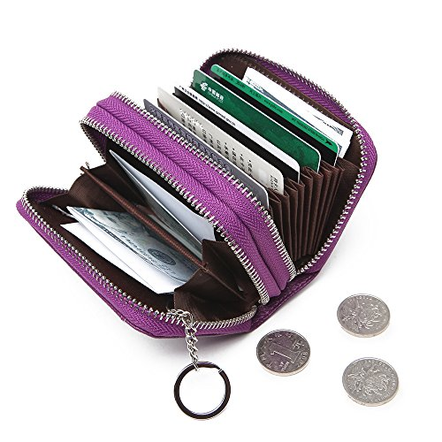 RFID Womens Card Holder Accordion Style Card Case Wallet with keyring (Purple) by Ogem