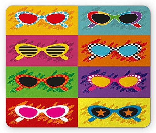 70s Party Mouse Pad by Ambesonne, Pop Art Style Sunglasses Vibrant Colorful Combination Summer Season Fun Artwork, Standard Size Rectangle Non-Slip Rubber Mousepad, - Season Sunglasses New