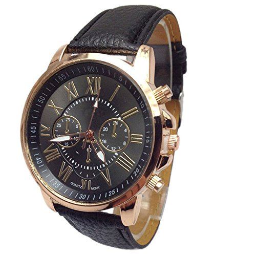 Womens Watch,Stylish Roman Numerals Analog Quartz Bracelet Faux Leather Wristwatch Axchongery (Black)
