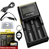 Bundle: Nitecore D2 Digicharger 2015 (Newest Version) LCD Display Universal Smart Charger For Rechargeable IMR/Li-ion/LiFePO4/Ni-MH/Ni-Cd with Car Charger, Lightjunction Keychain Light and Battery Box