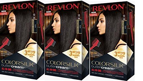 Revlon Colorsilk Buttercream Hair Dye, Black, 3 Count