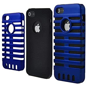 Microphone Style Dual-tone Hard Case For iPhone 5 - Blue