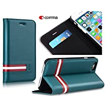 Comma Bally Series 100% Real Genuine Flip Leather Case Cover Skin for Iphone 6/6s,inner Pocket for Card (Turk Blue)