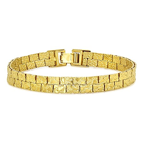 7.5mm 14k Yellow Gold Plated Double Row Nugget Textured Link Bracelet, 7