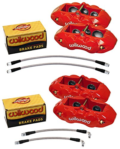 WILWOOD RED BRAKE CALIPER, PAD, AND LINE KIT, 6 PISTON FRONT AND 4 PISTON REAR, 65-82 CHEVY CORVETTE C2, C3, CHEVROLET, WILWOOD, PART # 140-11857-R AND 140-10790-R