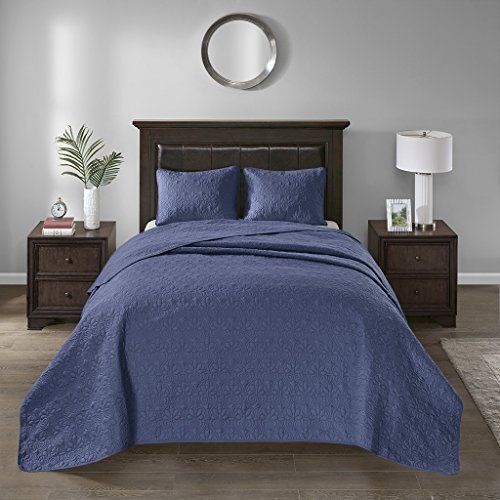 Madison Park MP13-2992 Quebec 3 Piece Bedspread Set44; Navy