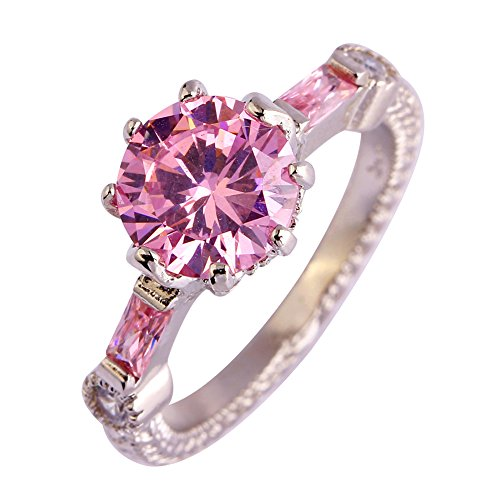 Psiroy Women's 925 Sterling Silver Created Pink Topaz Filled Solitaire Wedding Ring Size 11