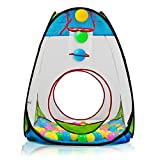 """Children's Pop Up Playhouse Tent with Set of """"100 Colorful Balls"""" Ball Pit with Basketball Hoop, for Indoor and Outdoor use, Great for Kids & Toddlers by Dimple"""