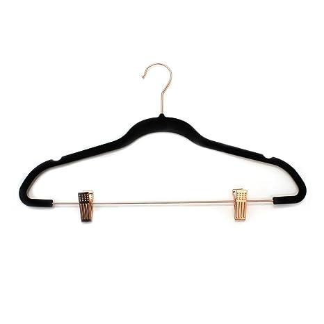 Cocomaya Percha para pantalones de metal de oro rosa de 33 cent/ímetros de alta resistencia paquete de 10 percha para pantalones percha para falda con ganchos giratorios y clips ajustables