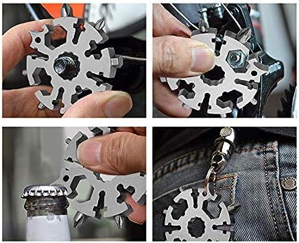 SQINAA Snowflake Multi Tool 20-en-1 Combinaison en Acier Inoxydable Ext/érieur Compact Portable Produits Flocon De Neige Carte Outil,Blanc