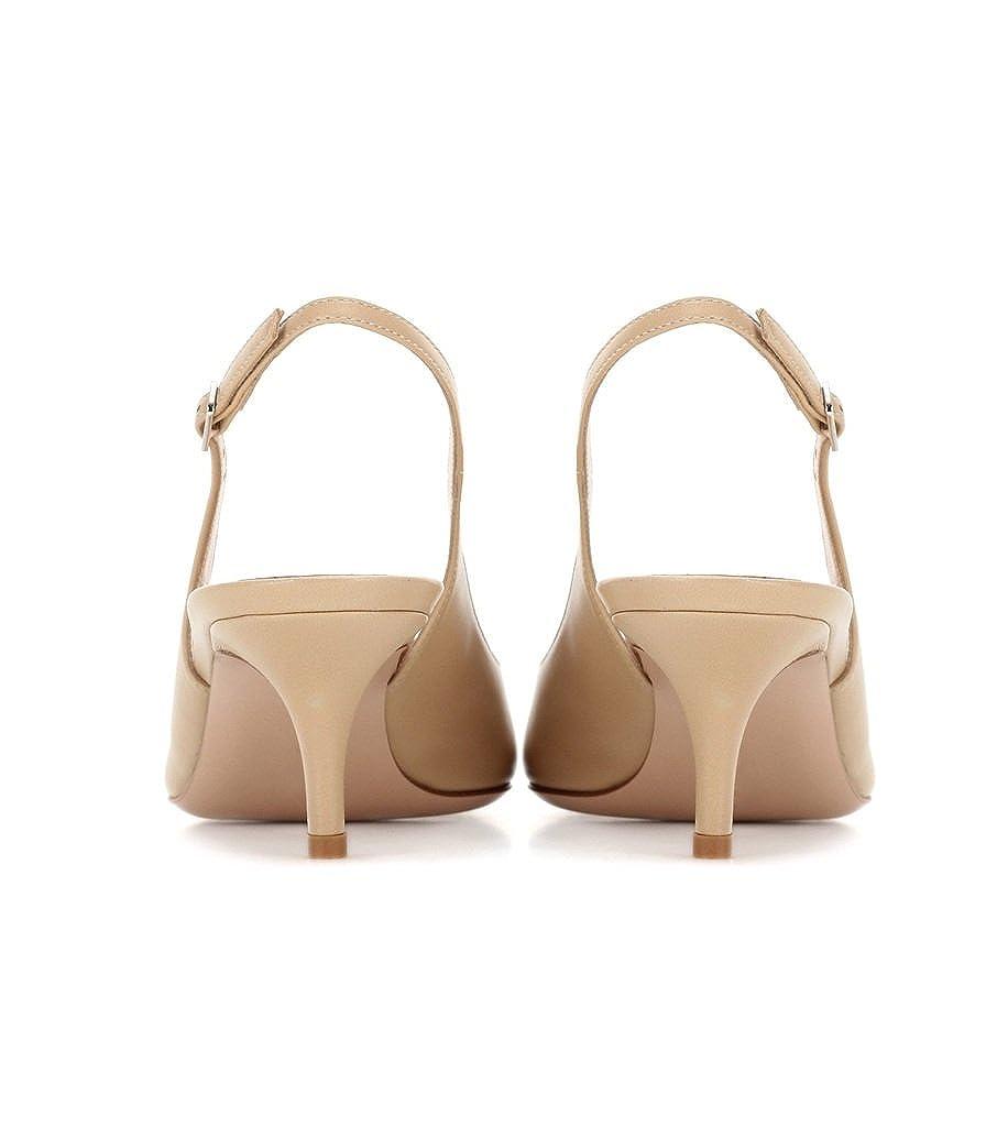 Escarpins Femme Kitten-Heel EDEFS Elegantes /à Talons Moyen Slingback Shoes Bride de Arri/ère Femme