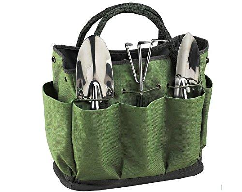 Gardening Bag (JKLcom Gardening Tote Bag Garden Tool Bag Garden Tote Home Organizer Gardening Tool Kit Holder Oxford Bag Gardening Tools Organizer Tote Lawn Yard Bag with 8 Pockets)