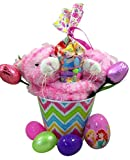 Pink Plush Hugging Cats Easter Basket with Princess Candy and Eggs