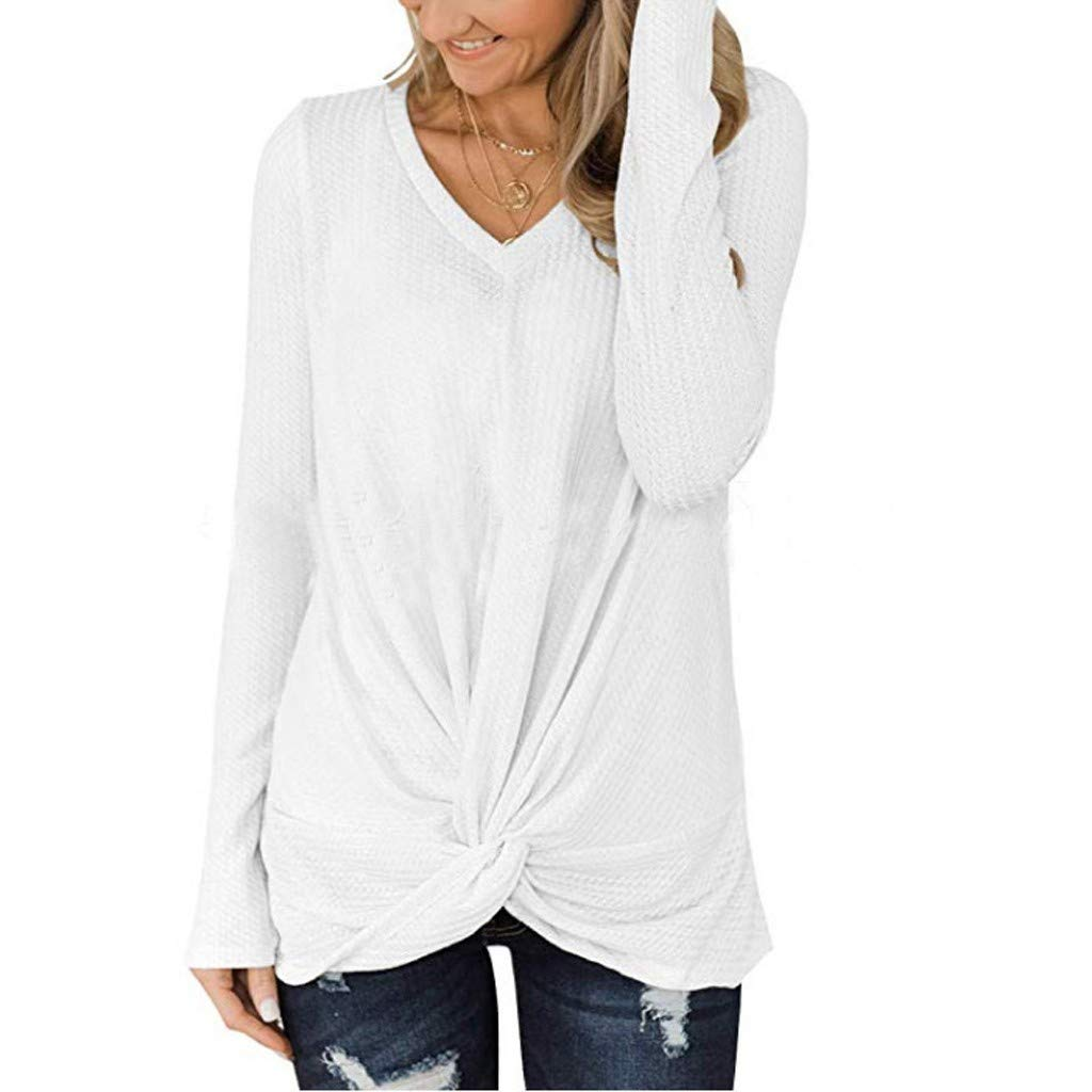 Rakkiss Womens Knit Tunic Tops, Ladies Plus Size Casual Long Sleeve Twist Knot Waffle Blouse V Neck Loose Shirts S-XXXL White by Rakkiss
