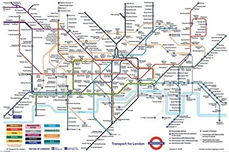 Subway Map Of London.Pyramid London Underground Map Poster Print