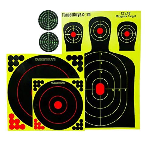 (Splatter Targets -Range Pack - (25 Targets) 12x18 inch Silhouettes, Adhesive Splatter Targets 12x12 inch, 8x8 inch, 3x3 inch, Shooting Targets -Gun-Rifle-Pistol-Airsoft)
