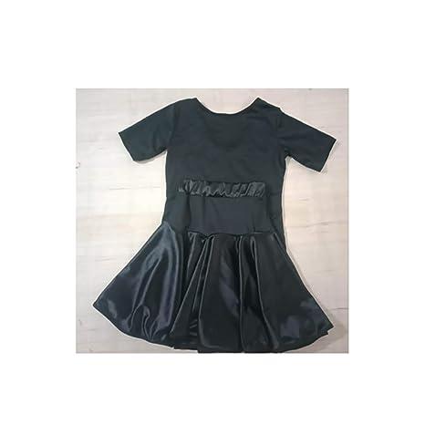 KUHU Trajes de Baile para niños Trajes de Baile divididos Trajes Latinos Traje Negro Camisa Manga Corta Falda Negra Traje Altura 140 cm: Amazon.es: Deportes y aire libre