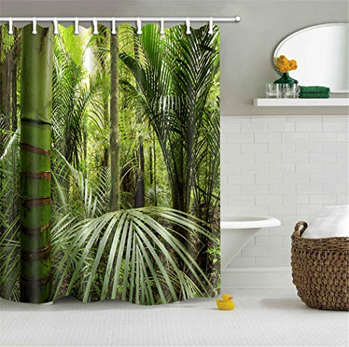 Palm Bamboo Curtain - LB Bamboo Areca Palm Tree in Green Tropical Jungle Shower Curtain Set by, Forest Scenery Print House Decor Curtain, 59 W x 70 L Inch Shower Window Curtain Waterproof