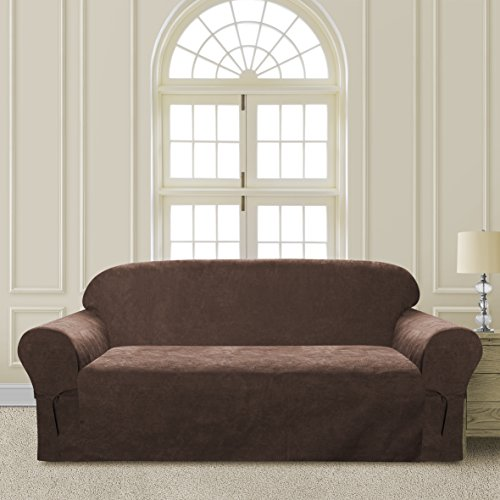 Comfy Bedding Microsuede Sofa Furniture Slipcover with Elastic Straps under Seat Cushion (Brown, Sofa) ()