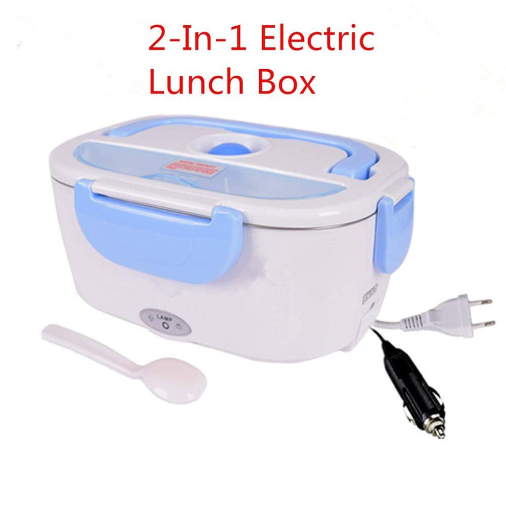 2 in 1 Electric Lunch Box for Car and Work Hot Food Stainless Steel 12 V and 220 V Lid and Thermos 40 W with Spoon and Two Compartments (blue)