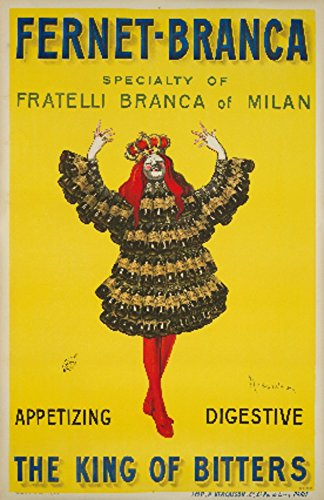 Fernet - Branca - The King of Bitters (artist: Cappiello, Leonetto) France c. 1909 - Vintage Advertisement (24x36 SIGNED Print Master Giclee Print w/ Certificate of Authenticity - Wall Decor Travel Poster)