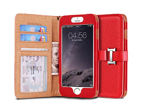 iPhone 6s (4.7) Case, [Snow Fairy] iPhone 6 (4.7) Flip Case [Wristlet Series][Wallet] Cash Pocket - Wrist Strap PU Leather Case for iPhone 6 (4.7) - Special Design ID Slot Red