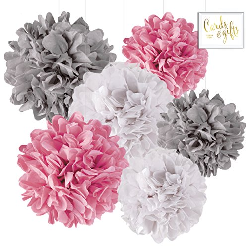 Andaz Press Hanging Tissue Paper Pom Poms Party Decor Trio Kit with Free Party Sign, White, Pink, Gray, 6-Pack, For Elephant Baby Shower Decorations ()