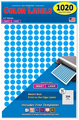 Pack of 1020 1/2 Round Color Coding Circle Dot Labels, Bright Blue, 8 1/2 x 11 Sheet, 0.5 in, Fits All Laser/Inkjet Printers...