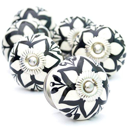 Pack of 6 Ceramic Black Star Pattern Decorative Antique Door Knobs- Pulls for Cabinet / Girls Dresser/Kids Cupboard/Kitchen Drawer Handles with Hardware ()