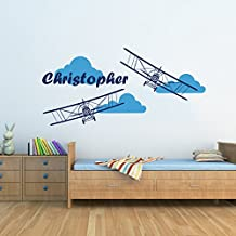 Airplane Wall Decals Custom Boys Name Personalized Name Biplane Nursery Baby Kids Plane Gift Clouds Wall Vinyl Decal Sticker Bedroom Murals