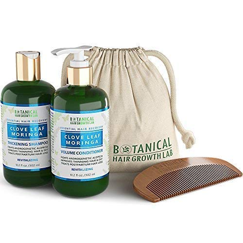 Botanical Hair Growth Lab Value Set Anti Hair Loss DHT Blocker Shampoo and Conditioner Clove Leaf - Moringa For Hair Thinning Prevention Alopecia Postpartum DHT Blocking