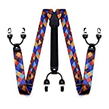 HISDERN Mens Floral Paisley 6 Clips Suspenders Y Shape Adjustable Braces