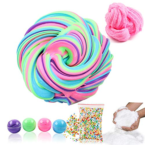 DIY Fluffy Slime Kit, 4 Colorful Fluffy Floam Slime with Foam Beads Instant Snow Powder, Soft Cloud Slime Scented with Container, Crunchy Clay Party Toy Favor Birthday Gift for Boy Girl by Tonlead