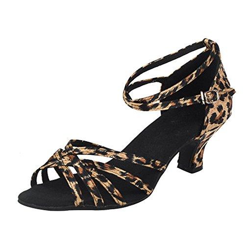 BOZEVON Mujer Moda Satén Peep Toe Baile de Salón Zapatos de Baile Latino de Tacón Alto Leopardo