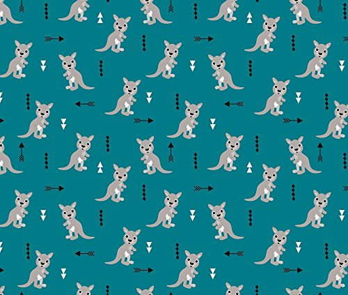 Geometrics Fabric - Cool Blue Adorable Geometric Kangaroo Illustration Australia Kids Pattern Design by littlesmilemakers - Printed on Organic Cotton Knit Fabric by the Yard