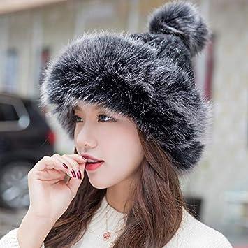 TOPmountain Mongolian Hat - Sombrero de Punto para Mujer de Invierno ... 58e3b07b536