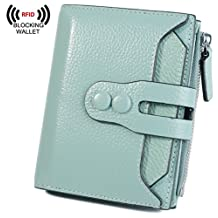 BIG SALE-30% OFF Yaluxe Women's RFID Blocking Security Leather Small Billfold Wallet Pebbled Light Green