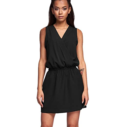 Wytong Ladies Cute Solid Tunic Dress For Teen Girl Womens Sleeveless