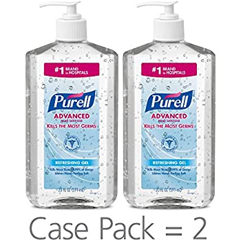 PURELL Advanced Hand Sanitizer, Refreshing Gel, 20 fl oz Hand Sanitizer Table Top Pump Bottles (Pack of 2) - 3023-12-EC