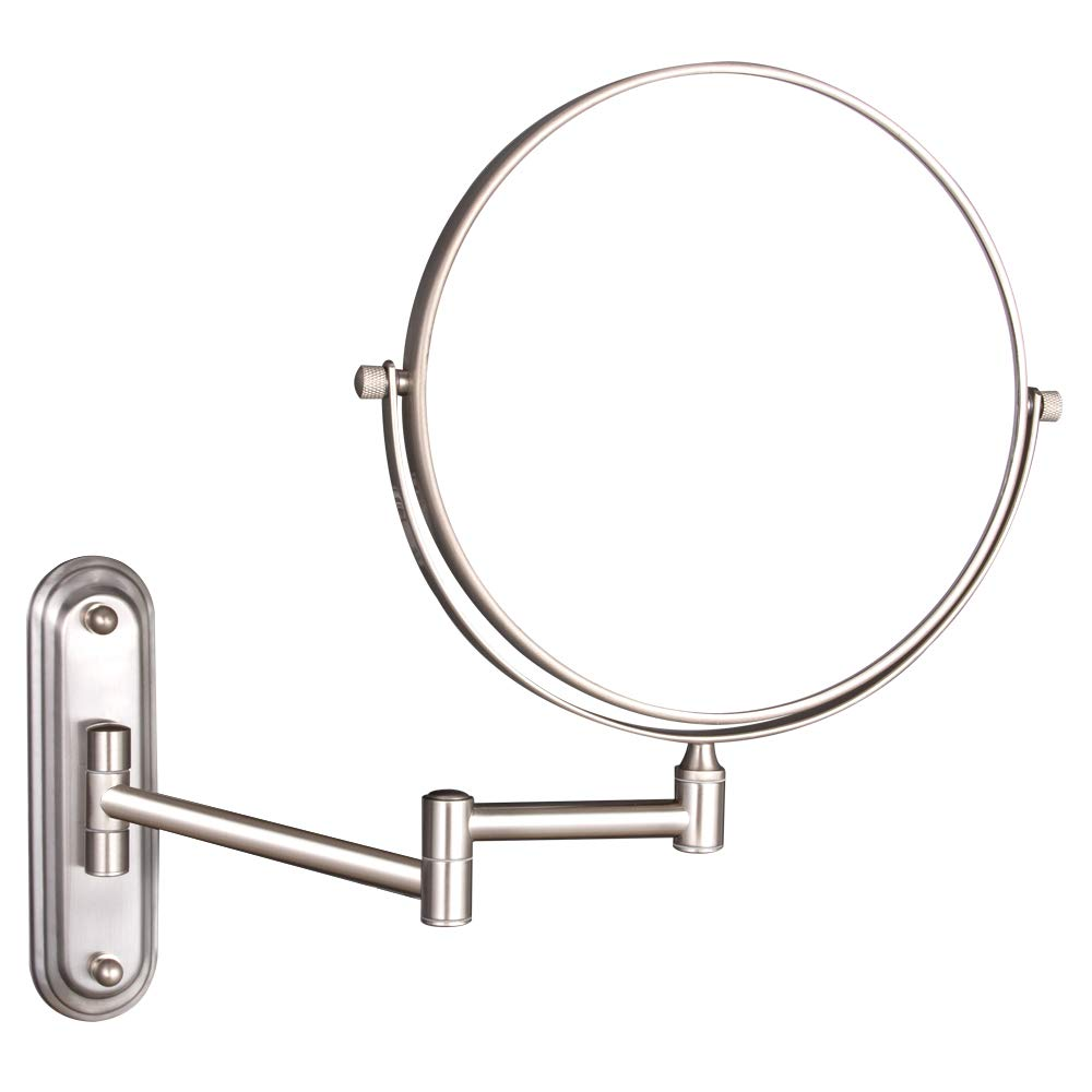 GURUN Wall Mount Magnifying Mirror Brushed Nickel Finish with 10x Magnification,8-Inch Two-Sided Swivel M1206N(8in,10x) by GURUN