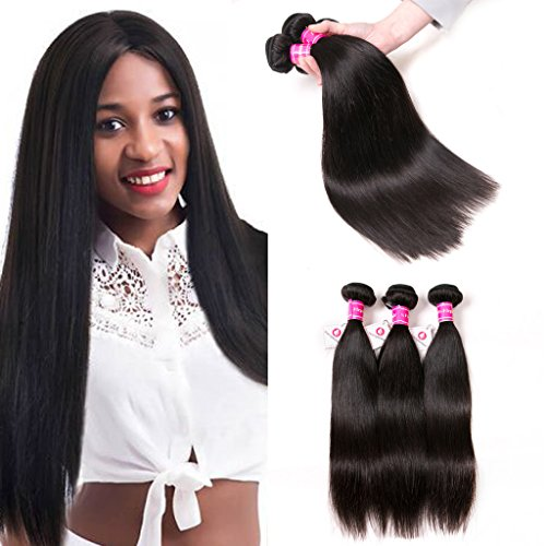 Hair Remy Human (Aphro Hair Brazilian Straight Hair Bundles 8A Grade Remy Hair Bundles 100% Unprocessed Virgin Human Hair 3 Bundles Hair Weave Natural Black Color (8 10 12 inches))