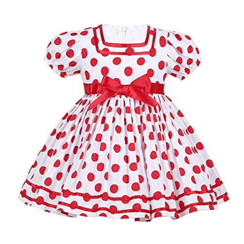 YiZYiF Little Girls Christmas Party Short Puffy Sleeves Shirley Temple Costume Ruffle Tutu Dress Red 3-4 -