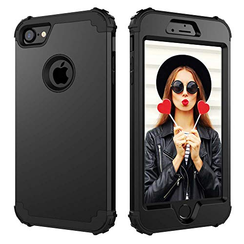 Digital Hutty 3 in 1 Shockproof Heavy Duty Full-Body Protective Cover for Apple iPhone 7 2016/iPhone 8 2017 Black