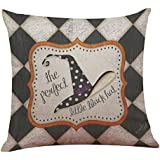 Suppion Halloween Pillow Cases, Halloween Pillow Box Linen Sofa Funny Ghost Pad Cushions Home Decoration(7 Kinds of Patterns) (A)