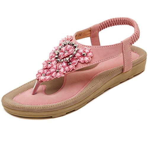 Sandals XIAOLIN Summer Flower Rhinestones Clip Toe Flat Heel Women's Soft Sole Large Heel Height 2 Cm(Optional Size) (Color : Pink, Size : EU36/UK4/CN36) Pink