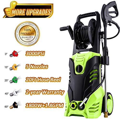 - Flagup Electric High Pressure Washer 3000PSI 1.8GPM Power Pressure Washer Machine with Power Hose Gun Turbo Wand 5 Interchangeable Nozzles