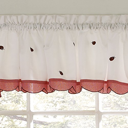Sweet Home Collection Kitchen Curtain Choice of Tier, Swag Stylish and Unique Patterns and Designs, Valance, Ladybug ()