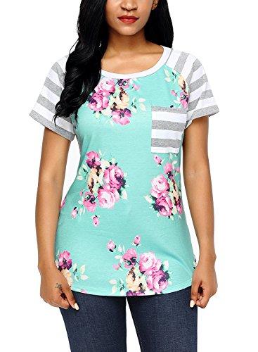 Floral Design Short Sleeve Top - 9