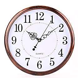 Bekith 12 inch Retro Clock Non Ticking Silent Quality Quartz Decorative Home/Office/School Wall Clock
