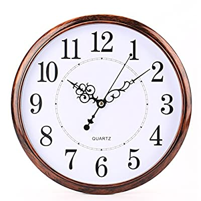 Bekith 12 inch Retro Clock Non Ticking Silent Quartz Decorative Wall Clock - Elegant wooden-looking large 12 inch round retro wall clock, Plastic Case And Lens, makes it easy to clean and keeps dust away from dial. White dial with black hands, seconds hand, black Arabic numeral analog display - wall-clocks, living-room-decor, living-room - 513HuYO0bQL. SS400  -
